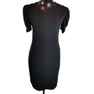 Divided Short Sleeve Shift Dress with Ruching -L